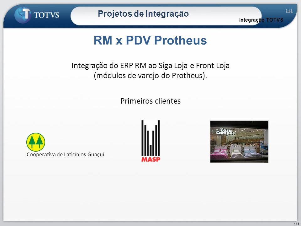 111 Projetos de Integração RM x PDV Protheus Integração TOTVS Integração do ERP RM ao Siga Loja e Front Loja (módulos de varejo do Protheus). Primeiro