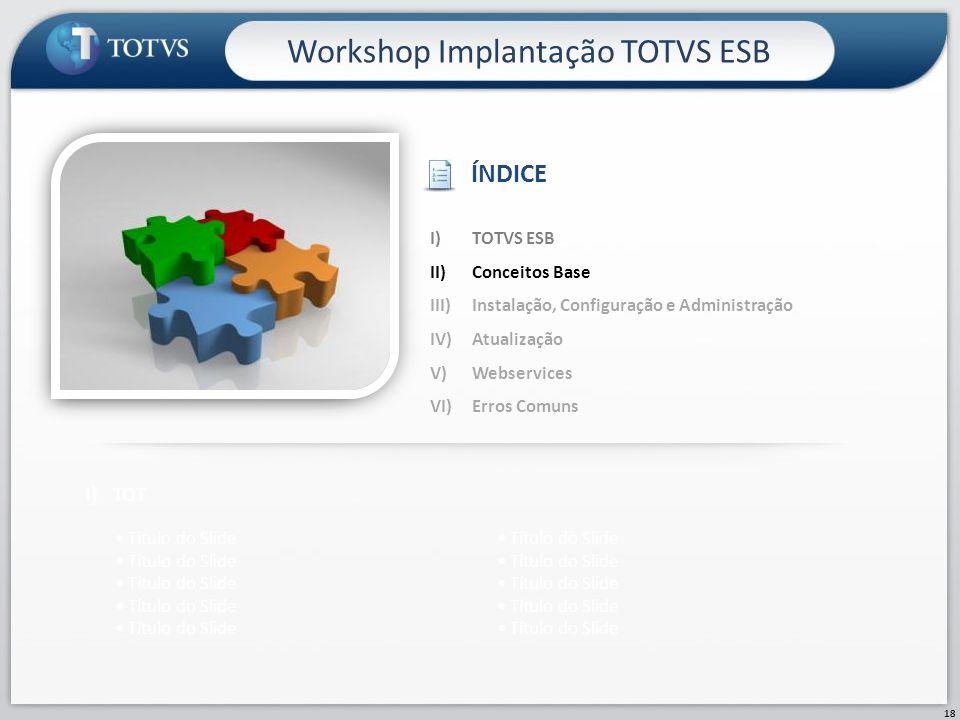 18 Workshop Implantação TOTVS ESB I)TOT Título do Slide I)TOTVS ESB II)Conceitos Base III)Instalação, Configuração e Administração IV)Atualização V)We