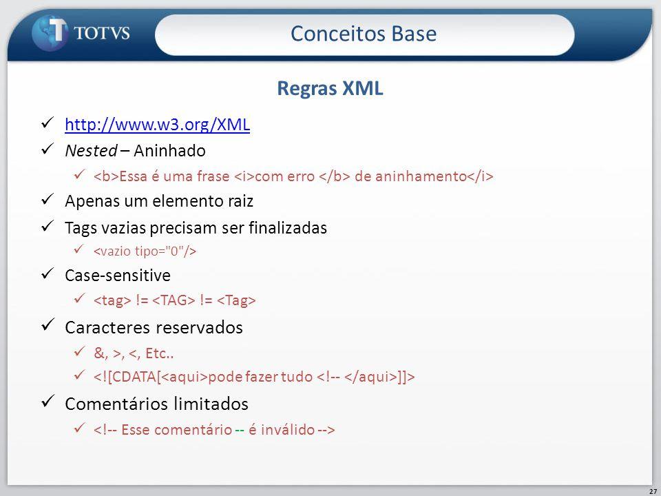 Regras XML Conceitos Base 27 http://www.w3.org/XML Nested – Aninhado Essa é uma frase com erro de aninhamento Apenas um elemento raiz Tags vazias prec
