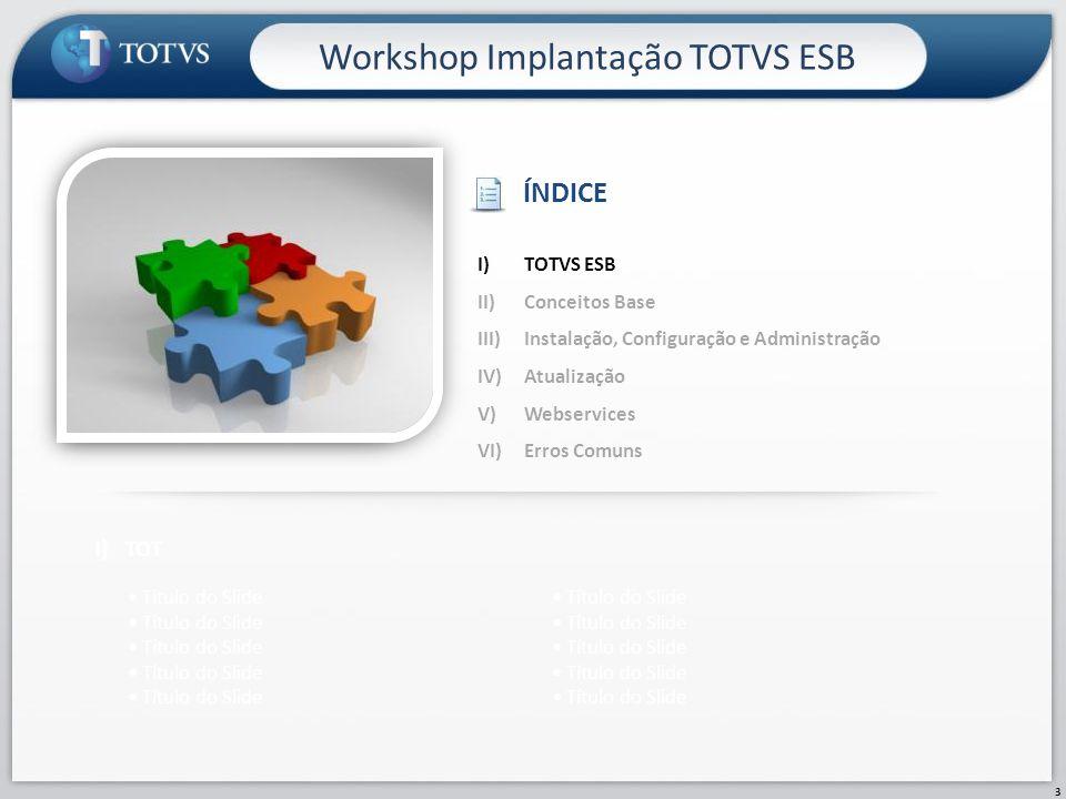 3 Workshop Implantação TOTVS ESB I)TOT Título do Slide I)TOTVS ESB II)Conceitos Base III)Instalação, Configuração e Administração IV)Atualização V)Web