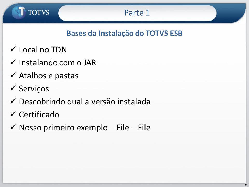 Bases da Instalação do TOTVS ESB Local no TDN Instalando com o JAR Atalhos e pastas Serviços Descobrindo qual a versão instalada Certificado Nosso pri