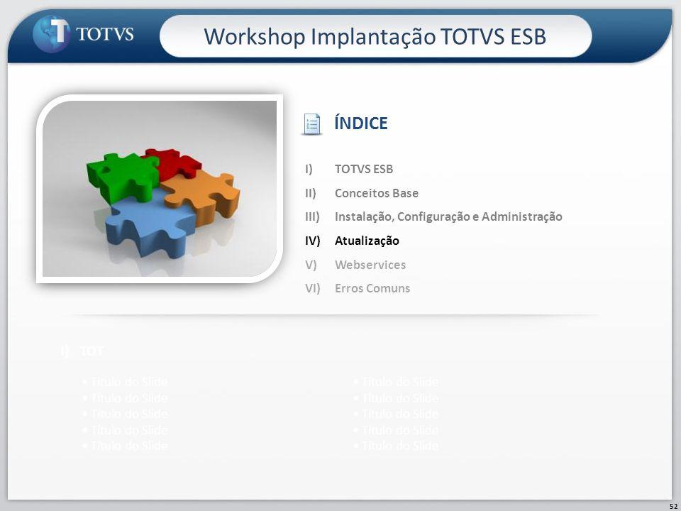 52 Workshop Implantação TOTVS ESB I)TOT Título do Slide I)TOTVS ESB II)Conceitos Base III)Instalação, Configuração e Administração IV)Atualização V)We