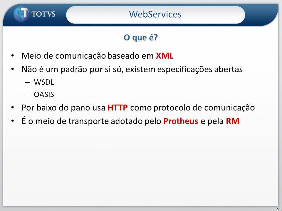 O que é? Meio de comunicação baseado em XML Não é um padrão por si só, existem especificações abertas – WSDL – OASIS Por baixo do pano usa HTTP como p