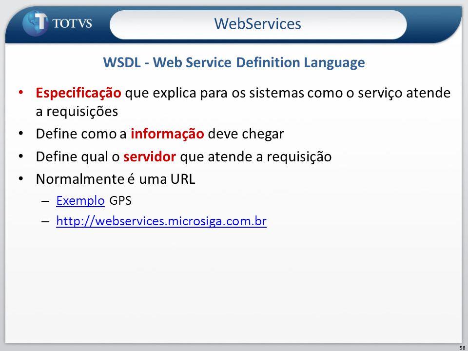 WSDL - Web Service Definition Language Especificação que explica para os sistemas como o serviço atende a requisições Define como a informação deve ch
