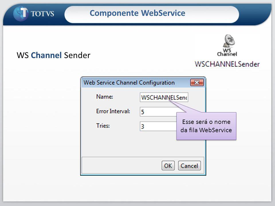Componente WebService WS Channel Sender Esse será o nome da fila WebService