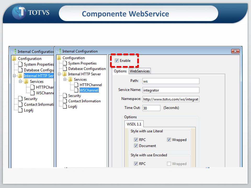 Componente WebService Habilitando componentes Channel Porta usada pelo serviço WebService