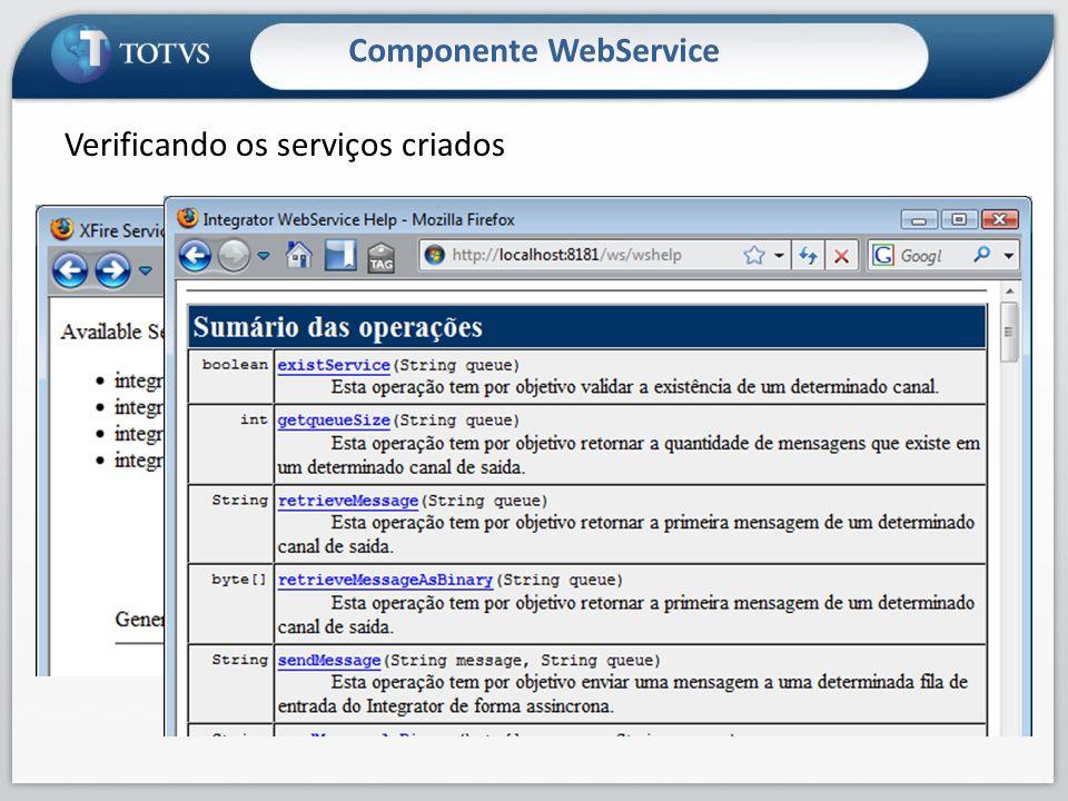 Componente WebService Verificando os serviços criados