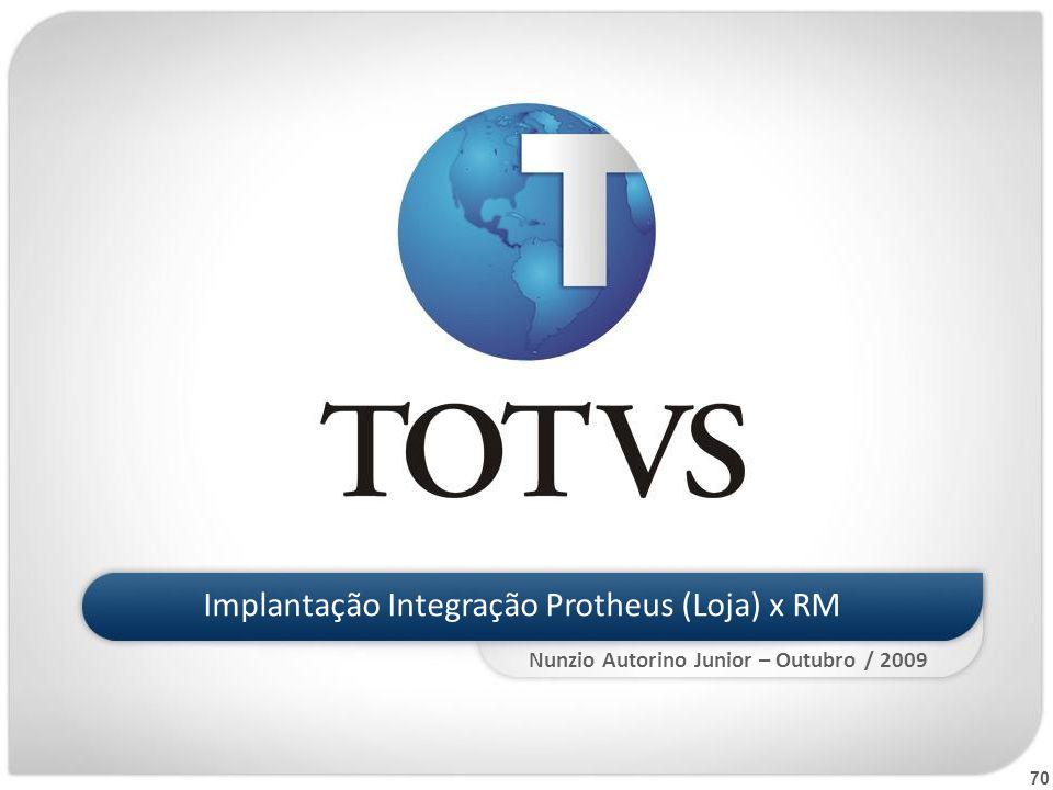 70 Implantação Integração Protheus (Loja) x RM Nunzio Autorino Junior – Outubro / 2009