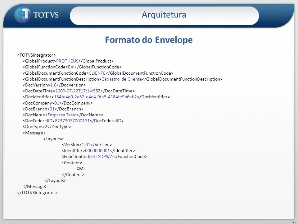 Formato do Envelope Arquitetura 75 PROTHEUS EAI CLIENTE Cadastro de Cliente 1.0 2009-07-22T17:14:58Z 134fe4a0-2a52-e4d4-9fa5-4184fe9b6ab2 01 01 Empres