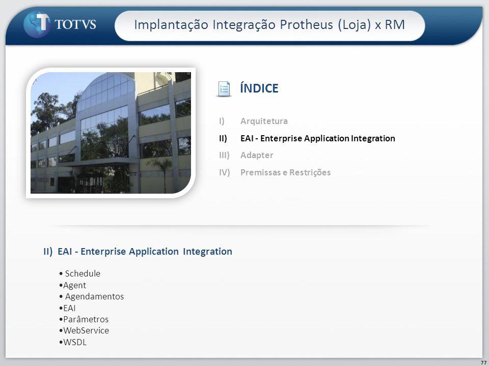 77 Implantação Integração Protheus (Loja) x RM II)EAI - Enterprise Application Integration Schedule Agent Agendamentos EAI Parâmetros WebService WSDL