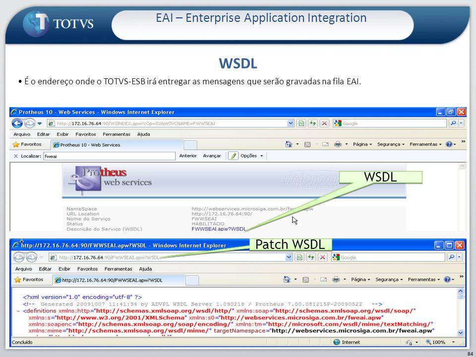 WSDL EAI – Enterprise Application Integration 84 WSDL Patch WSDL É o endereço onde o TOTVS-ESB irá entregar as mensagens que serão gravadas na fila EA