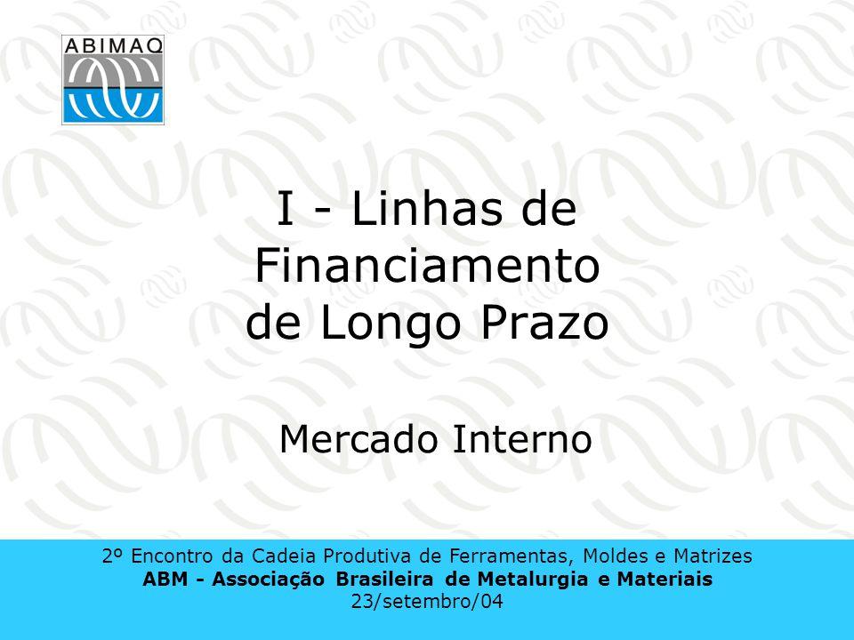 Linhas de Financiamento de Longo Prazo Mercado Interno Comercialização Aquisição de Máquinas e Equipamentos Comercialização Aquisição de Máqs.