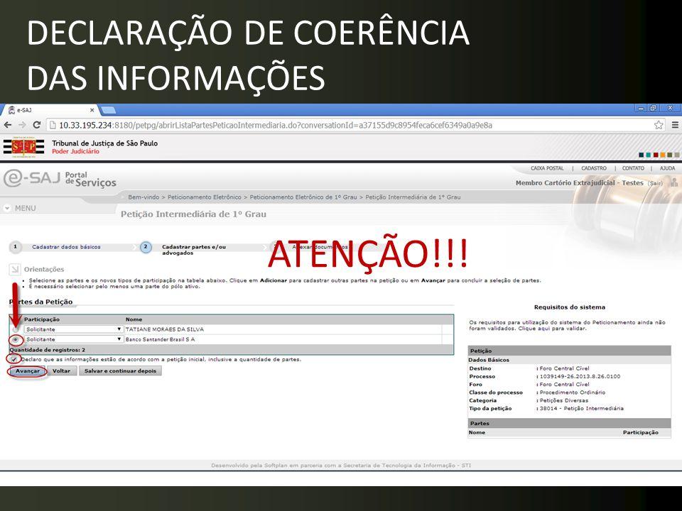 DECLARAÇÃO DE COERÊNCIA DAS INFORMAÇÕES ATENÇÃO!!!