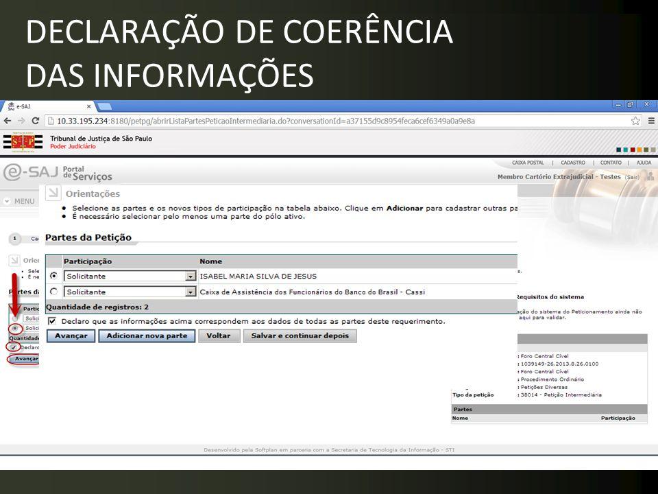 DECLARAÇÃO DE COERÊNCIA DAS INFORMAÇÕES