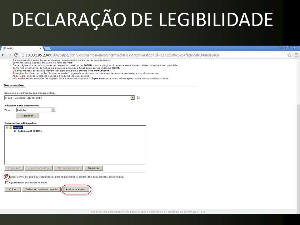 DECLARAÇÃO DE LEGIBILIDADE