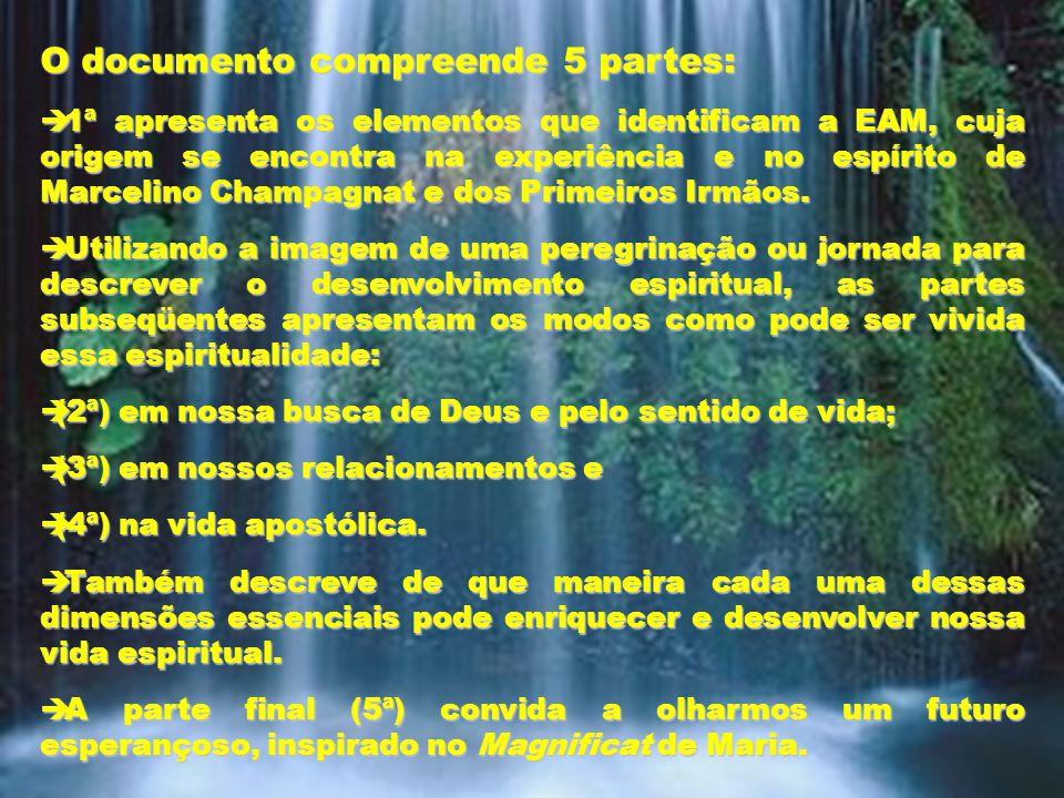 28 O documento compreende 5 partes:  1ª apresenta os elementos que identificam a EAM, cuja origem se encontra na experiência e no espírito de Marcelino Champagnat e dos Primeiros Irmãos.