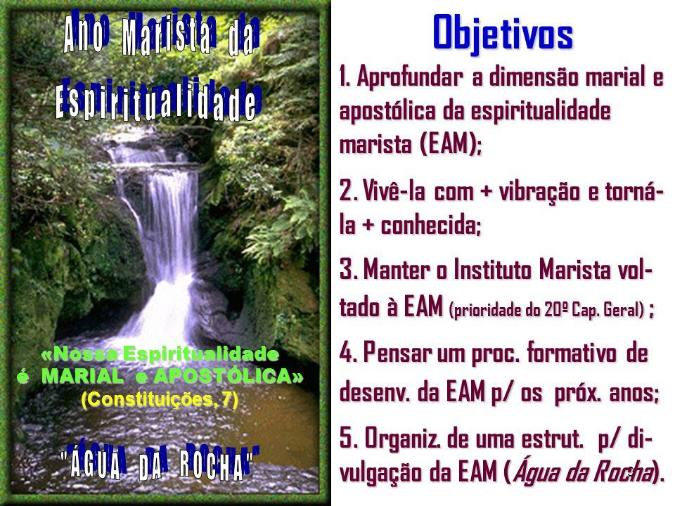 9Objetivos 1. Aprofundar a dimensão marial e apostólica da espiritualidade marista (EAM); 2.