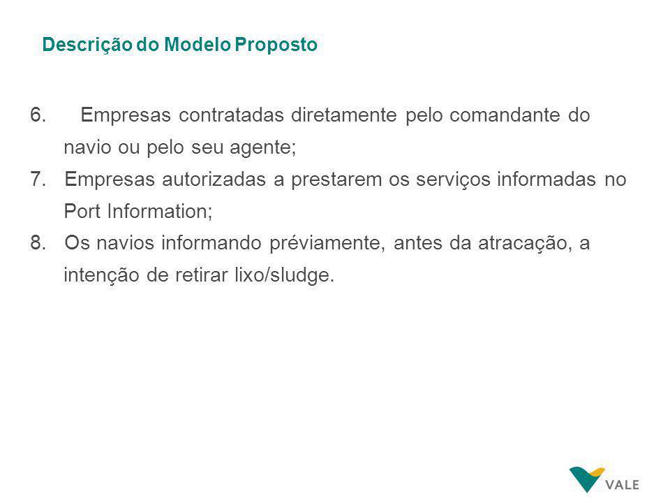 Descrição do Modelo Proposto 6. Empresas contratadas diretamente pelo comandante do navio ou pelo seu agente; 7. Empresas autorizadas a prestarem os s