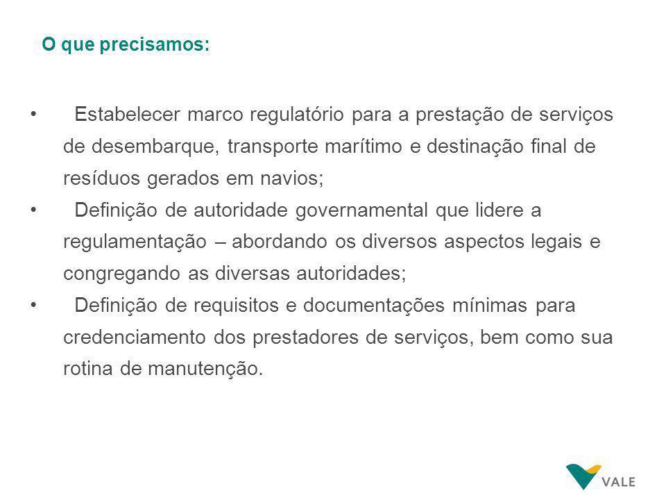 O que precisamos: Estabelecer marco regulatório para a prestação de serviços de desembarque, transporte marítimo e destinação final de resíduos gerado