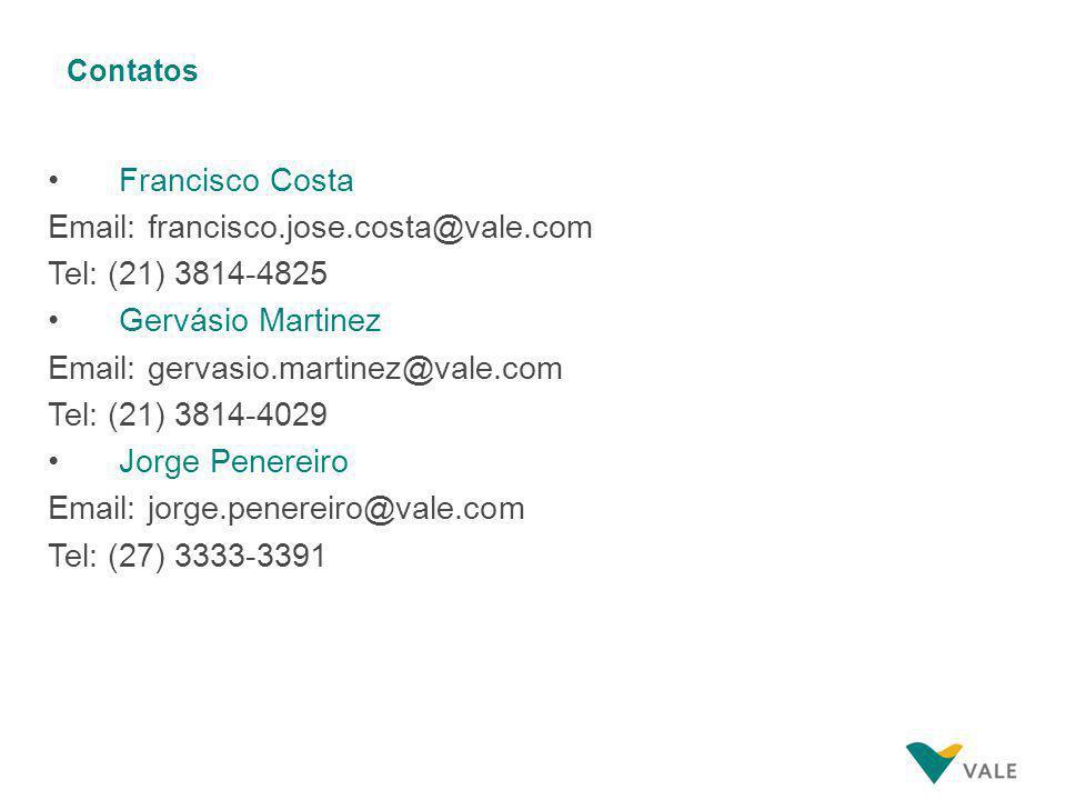 Contatos Francisco Costa Email: francisco.jose.costa@vale.com Tel: (21) 3814-4825 Gervásio Martinez Email: gervasio.martinez@vale.com Tel: (21) 3814-4029 Jorge Penereiro Email: jorge.penereiro@vale.com Tel: (27) 3333-3391