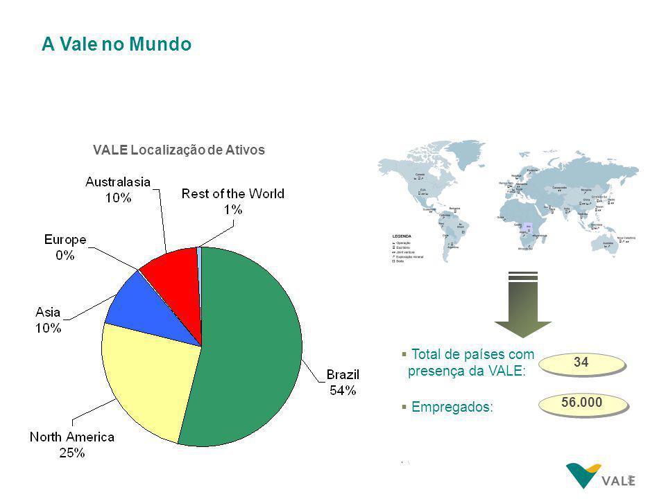 5 A Vale no Mundo VALE Localização de Ativos  Total de países com presença da VALE:  Empregados:  \ 34 56.000