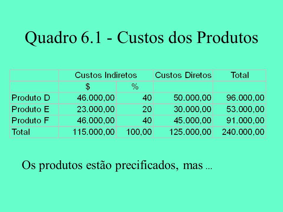 Quadro 6.1 - Custos dos Produtos Os produtos estão precificados, mas...