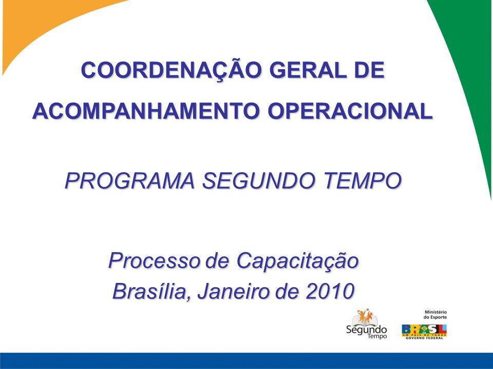 COORDENAÇÃO GERAL DE ACOMPANHAMENTO OPERACIONAL PROGRAMA SEGUNDO TEMPO Processo de Capacitação Brasília, Janeiro de 2010