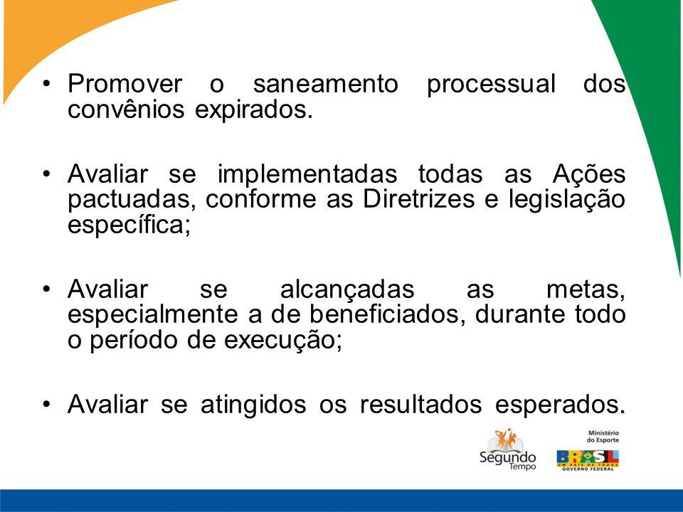 Promover o saneamento processual dos convênios expirados. Avaliar se implementadas todas as Ações pactuadas, conforme as Diretrizes e legislação espec