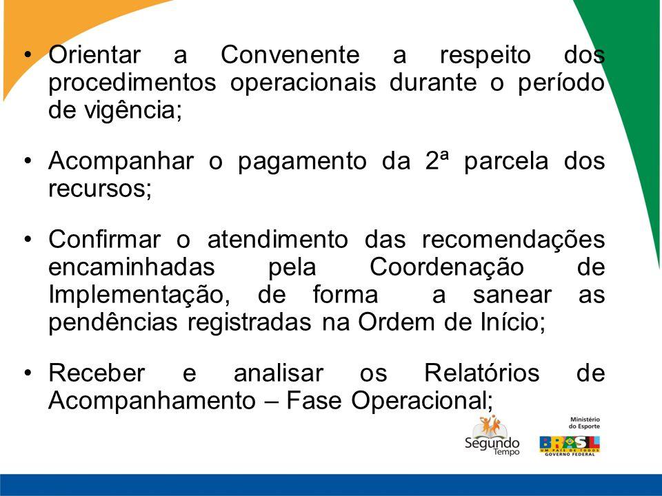 Orientar a Convenente a respeito dos procedimentos operacionais durante o período de vigência; Acompanhar o pagamento da 2ª parcela dos recursos; Conf