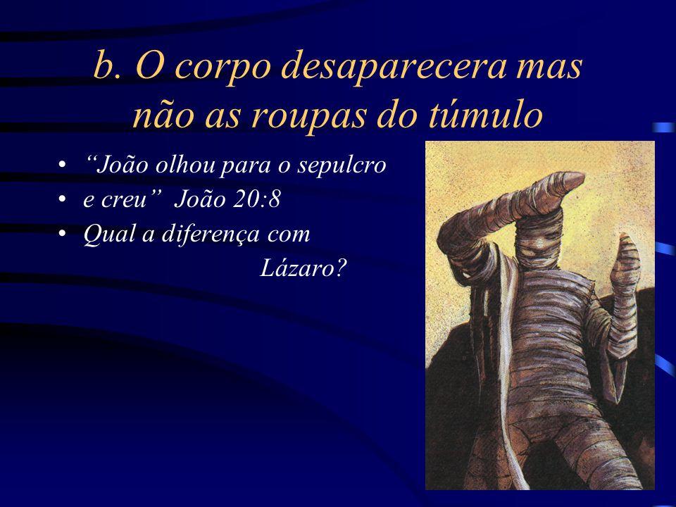 """b. O corpo desaparecera mas não as roupas do túmulo """"João olhou para o sepulcro e creu"""" João 20:8 Qual a diferença com Lázaro?"""