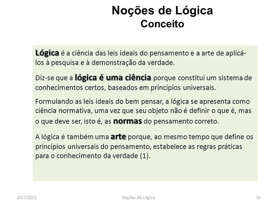 20/7/2011Noções de Lógica39 Noções de Lógica Conceito Lógica Lógica é a ciência das leis ideais do pensamento e a arte de aplicá- los à pesquisa e à d