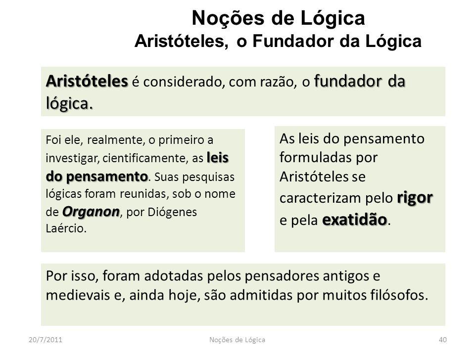 20/7/2011Noções de Lógica40 Noções de Lógica Aristóteles, o Fundador da Lógica Aristótelesfundador da lógica. Aristóteles é considerado, com razão, o