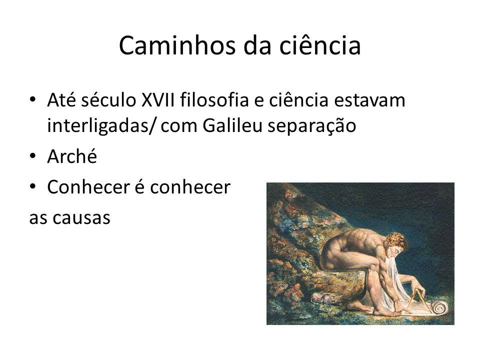 Caminhos da ciência Até século XVII filosofia e ciência estavam interligadas/ com Galileu separação Arché Conhecer é conhecer as causas