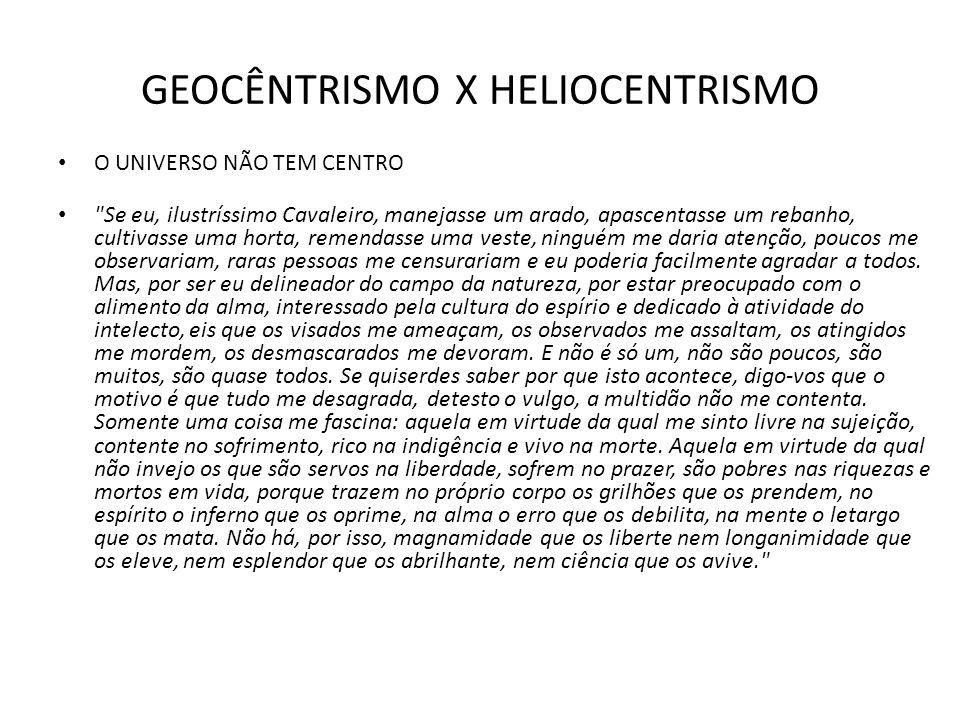 GEOCÊNTRISMO X HELIOCENTRISMO O UNIVERSO NÃO TEM CENTRO
