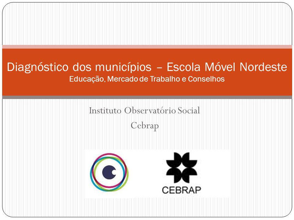Instituto Observatório Social Cebrap Diagnóstico dos municípios – Escola Móvel Nordeste Educação, Mercado de Trabalho e Conselhos