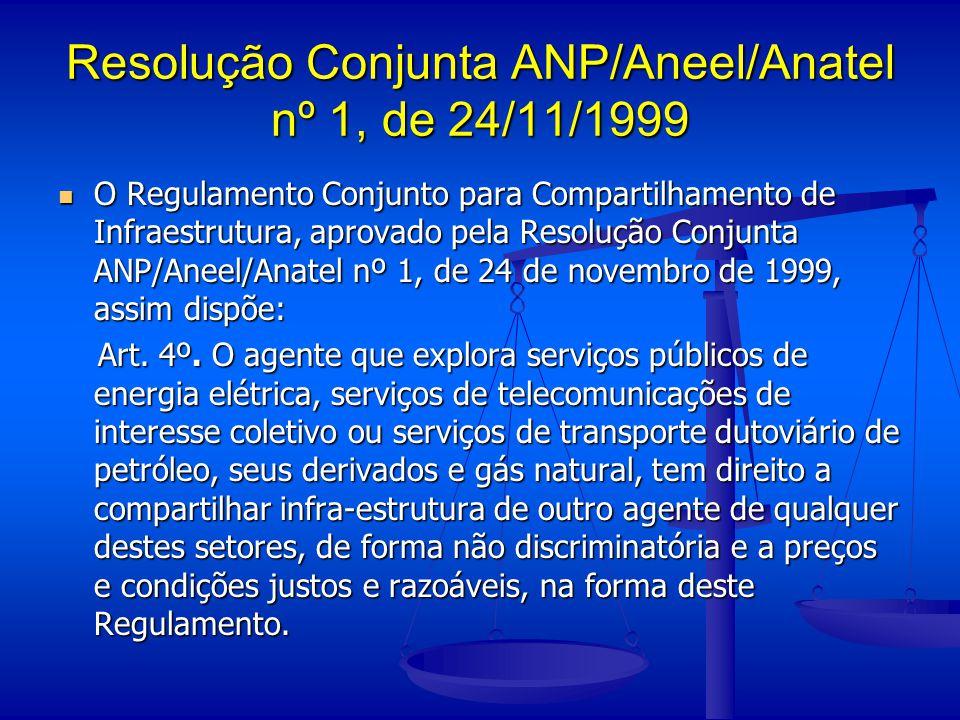 Resolução Conjunta ANP/Aneel/Anatel nº 1, de 24/11/1999 O Regulamento Conjunto para Compartilhamento de Infraestrutura, aprovado pela Resolução Conjun