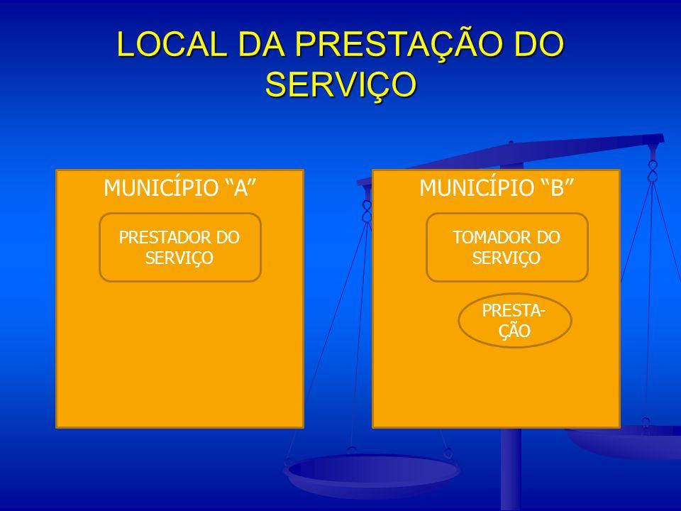 """LOCAL DA PRESTAÇÃO DO SERVIÇO MUNICÍPIO """"B""""MUNICÍPIO """"A"""" PRESTADOR DO SERVIÇO TOMADOR DO SERVIÇO PRESTA- ÇÃO"""