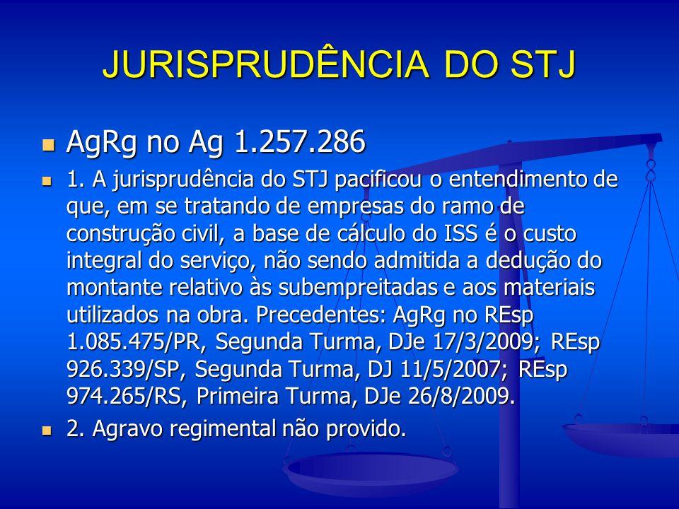 JURISPRUDÊNCIA DO STJ AgRg no Ag 1.257.286 AgRg no Ag 1.257.286 1. A jurisprudência do STJ pacificou o entendimento de que, em se tratando de empresas