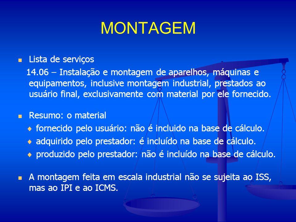 MONTAGEM Lista de serviços 14.06 – Instalação e montagem de aparelhos, máquinas e equipamentos, inclusive montagem industrial, prestados ao usuário fi