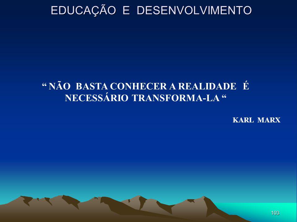 """103 EDUCAÇÃO E DESENVOLVIMENTO """" NÃO BASTA CONHECER A REALIDADE É NECESSÁRIO TRANSFORMA-LA """" KARL MARX"""