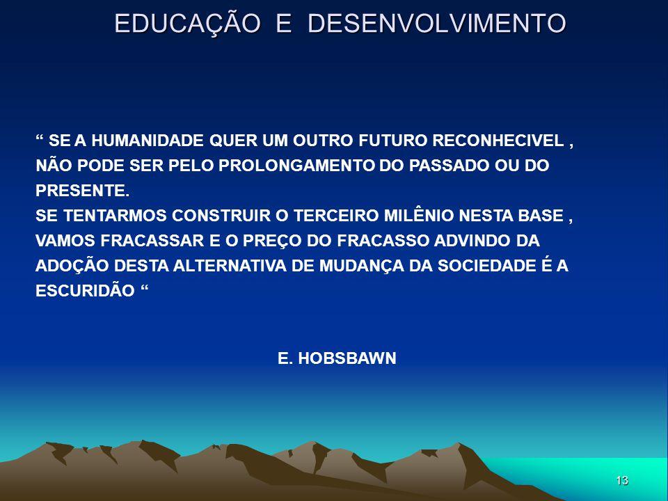 """13 EDUCAÇÃO E DESENVOLVIMENTO """" SE A HUMANIDADE QUER UM OUTRO FUTURO RECONHECIVEL, NÃO PODE SER PELO PROLONGAMENTO DO PASSADO OU DO PRESENTE. SE TENTA"""
