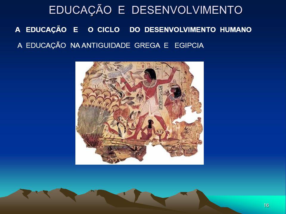 16 EDUCAÇÃO E DESENVOLVIMENTO A EDUCAÇÃO E O CICLO DO DESENVOLVIMENTO HUMANO A EDUCAÇÃO NA ANTIGUIDADE GREGA E EGIPCIA
