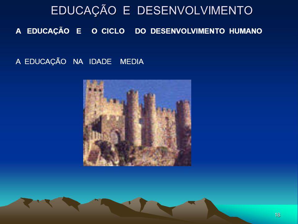 18 EDUCAÇÃO E DESENVOLVIMENTO A EDUCAÇÃO E O CICLO DO DESENVOLVIMENTO HUMANO A EDUCAÇÃO NA IDADE MEDIA