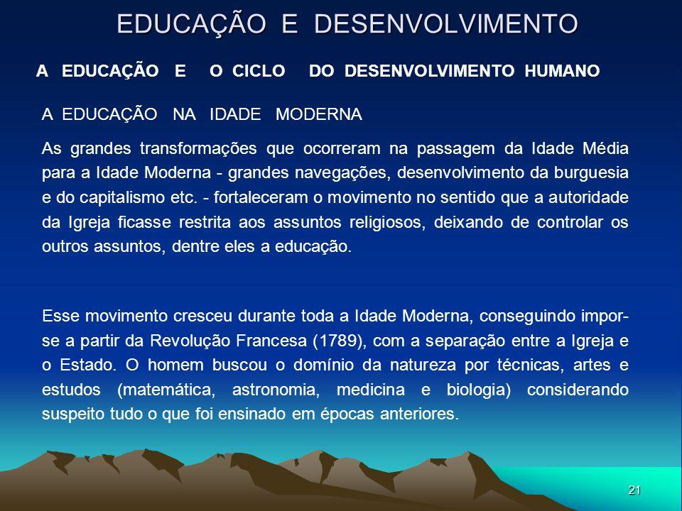 21 EDUCAÇÃO E DESENVOLVIMENTO A EDUCAÇÃO E O CICLO DO DESENVOLVIMENTO HUMANO A EDUCAÇÃO NA IDADE MODERNA As grandes transformações que ocorreram na pa
