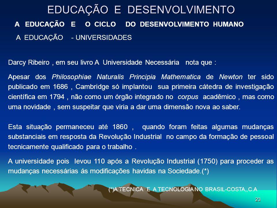 23 EDUCAÇÃO E DESENVOLVIMENTO A EDUCAÇÃO E O CICLO DO DESENVOLVIMENTO HUMANO A EDUCAÇÃO - UNIVERSIDADES Darcy Ribeiro, em seu livro A Universidade Nec