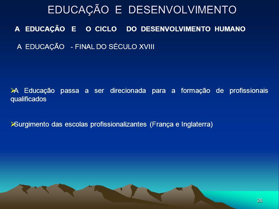 28 EDUCAÇÃO E DESENVOLVIMENTO A EDUCAÇÃO E O CICLO DO DESENVOLVIMENTO HUMANO A EDUCAÇÃO - FINAL DO SÉCULO XVIII  A Educação passa a ser direcionada p