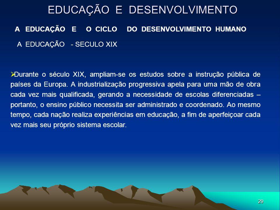 29 EDUCAÇÃO E DESENVOLVIMENTO A EDUCAÇÃO E O CICLO DO DESENVOLVIMENTO HUMANO A EDUCAÇÃO - SECULO XIX  Durante o século XIX, ampliam-se os estudos sob