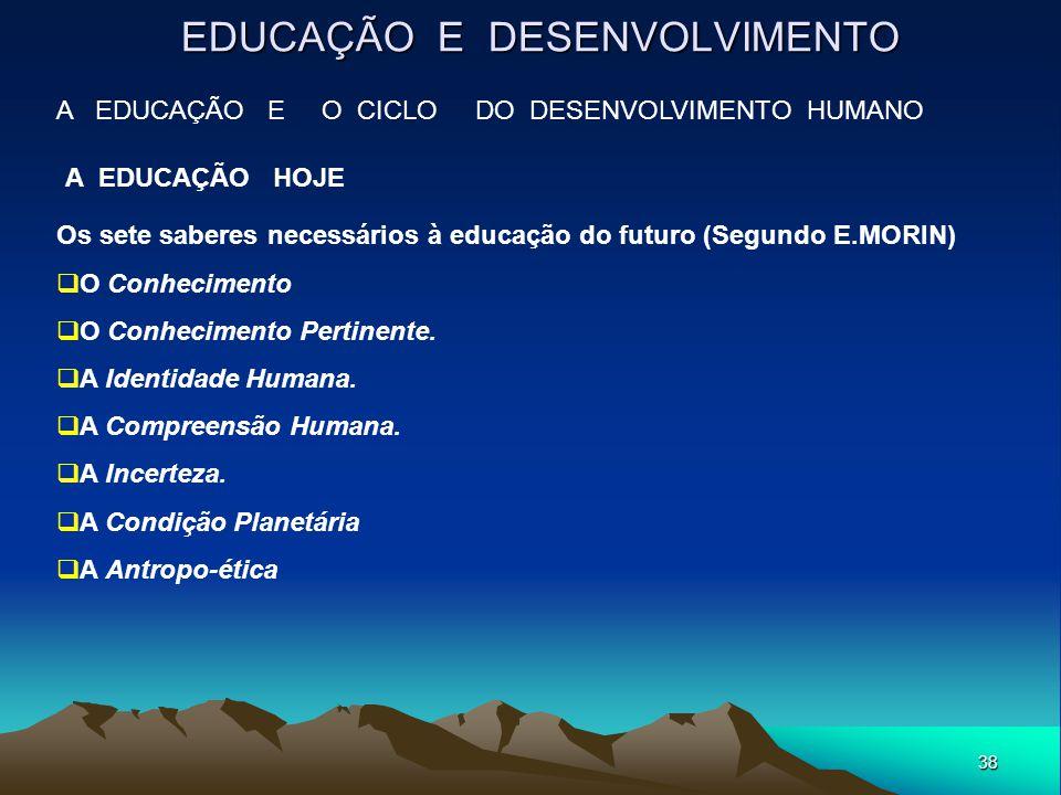 38 EDUCAÇÃO E DESENVOLVIMENTO A EDUCAÇÃO E O CICLO DO DESENVOLVIMENTO HUMANO A EDUCAÇÃO HOJE Os sete saberes necessários à educação do futuro (Segundo
