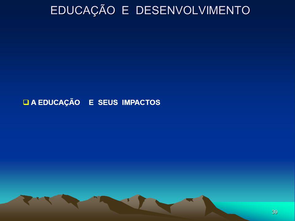 39 EDUCAÇÃO E DESENVOLVIMENTO  A EDUCAÇÃO E SEUS IMPACTOS