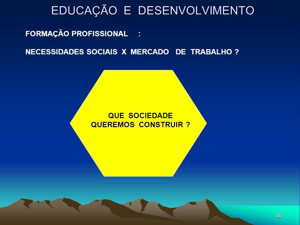 80 EDUCAÇÃO E DESENVOLVIMENTO QUE SOCIEDADE QUEREMOS CONSTRUIR ? FORMAÇÃO PROFISSIONAL : NECESSIDADES SOCIAIS X MERCADO DE TRABALHO ?